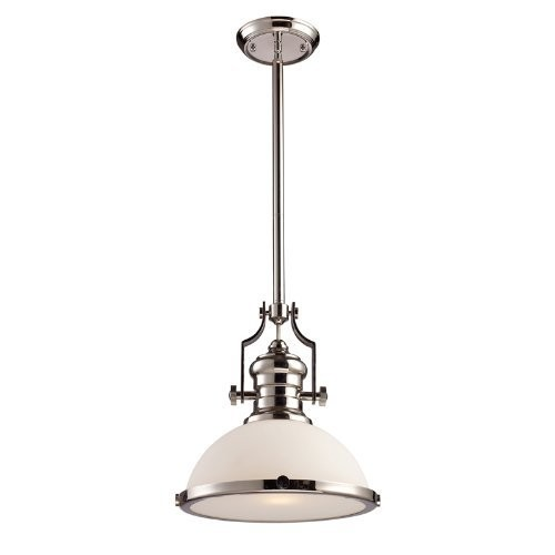 Elk 66113-1 Chadwick 1-Light 14-Inch Pendant, Polished Nickel With Frosted Glass [Polished Nickel]
