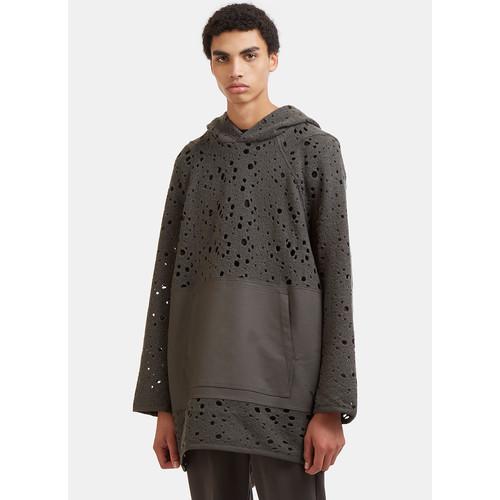 Oversized Holed Knit Hooded Sweater in Khaki