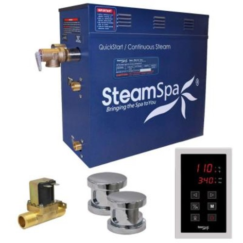 SteamSpa Oasis 12kW QuickStart Steam Bath Generator Package with Built-In Auto Drain in Polished Chrome