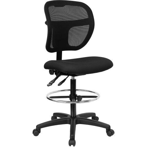 Flash Furniture Mid-Back Black Mesh Drafting Chair [Black]