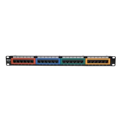 Tripp Lite 24-Port 1U Rack-Mount 110-Type Color-Coded Patch Panel - RJ45, Ethernet 568B, Cat6, Patch Panel, RJ-45 X 24, 1U, 19