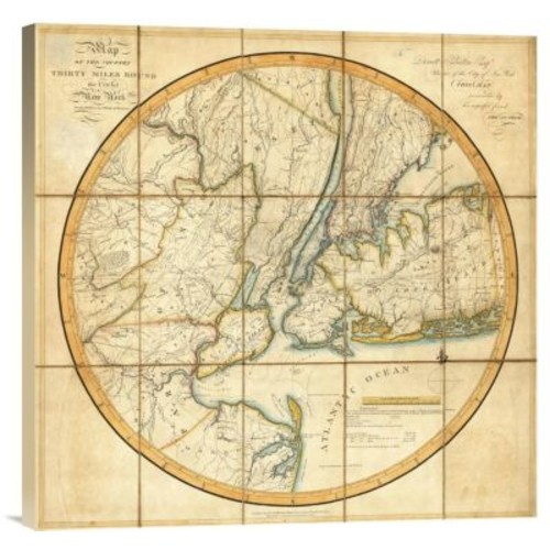 East Urban Home Map of the Country Thirty Miles Round the City of New York, 1811' Print on Canvas