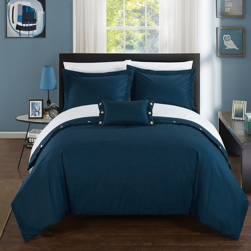 Chic Home Astrid Blue Cotton Duvet Cover 4-Piece Set