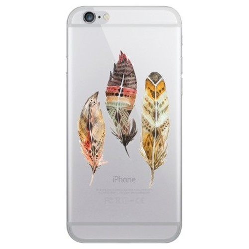 iPhone 6/6S/7/8 Case Plus Hybrid Triple Feathers Clear - OTM Essentials