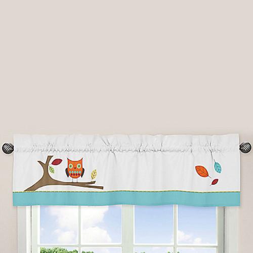 Sweet Jojo Designs Hooty Window Valance in Turquoise/Lime