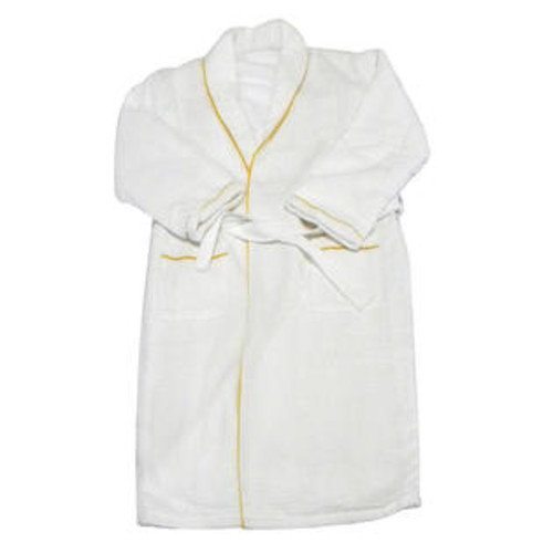 Radiant Saunas European Spa & Bath White Waffle Weave Terry Cloth Robe with Gold Embroidered Trim