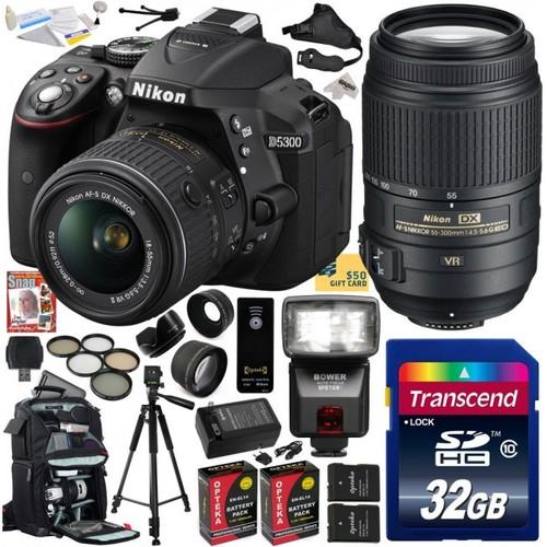 Nikon D5300 24.2 MP CMOS Digital SLR Camera with 18-55mm f/3.5-5.6G ED VR II AF-S DX NIKKOR Zoom Lens & Nikon AF-S NIKKOR 55-300mm f/4.5-5.6G ED VR Zoom Lens (Black) (1522) with Ultimate Accessory Bundle