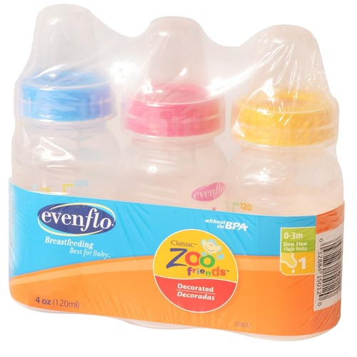 Evenflo Classic Zoo Friends Bottles, Slow Flow, Decorated, 8 oz, 1 (0-3 M), 3 bottles