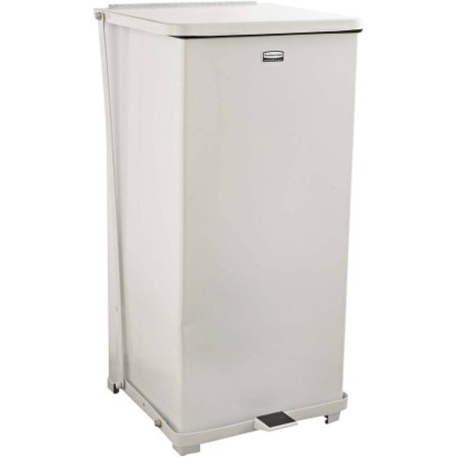 Rubbermaid Commercial Defenders Biohazard Heavy-Duty Steel Step Can, Square, 24gal, White