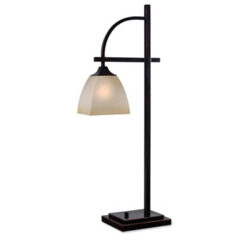 Kenroy Home Arch Table Lamp in Oil Rubbed Bronze with Glass Shade