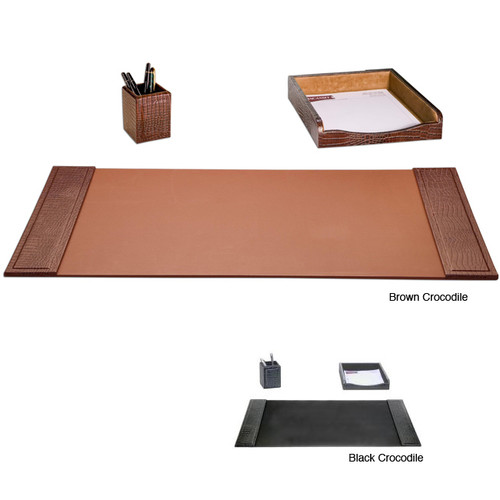 Dacasso 3-piece Crocodile Embossed Leather Desk Set [option : Brown]