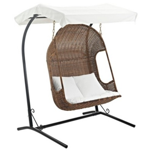 Vantage Outdoor Patio Wood Swing Chair in Brown White - Modway