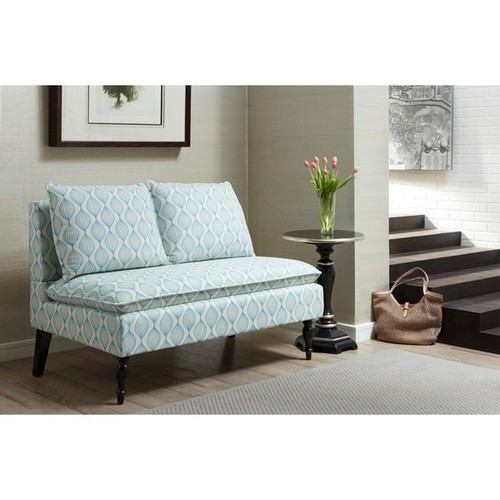 Blue/ Cream Upholstered Banquette Bench - Blue/ Cream