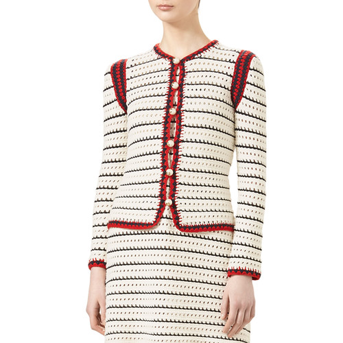 GUCCI Classic Web-Trim Cardigan, Natural White/Black