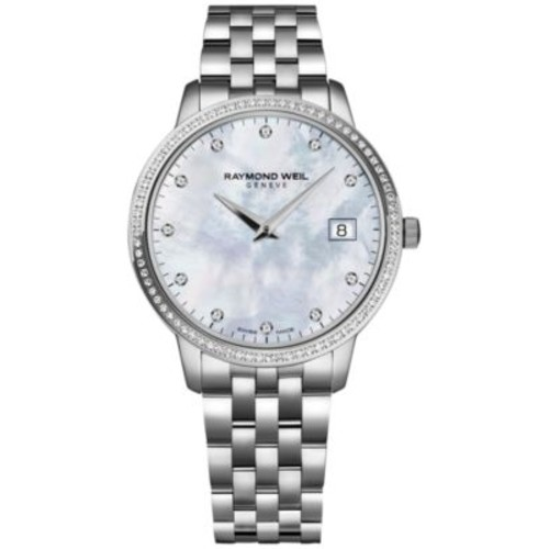 RAYMOND WEIL Women's Swiss Toccata Diamond (1/4 ct. t.w.) Stainless Steel Bracelet Watch 34mm 5388-STS-97081