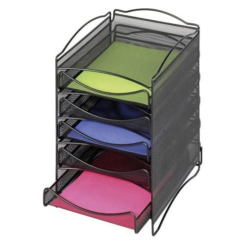 Safco Products 9432BL Onyx Mesh Literature Organizer, 5 Drawer , Black [5 Drawer]