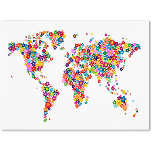 Trademark Art 'Flowers World Map 2' Canvas Art by Michael Tompsett