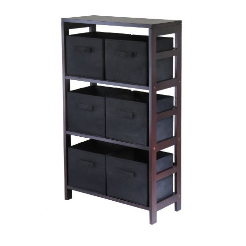 Winsome Wood Capri Wood 3 Section Storage Shelf with 6 Black Fabric Foldable Baskets [Espresso, black baskets]