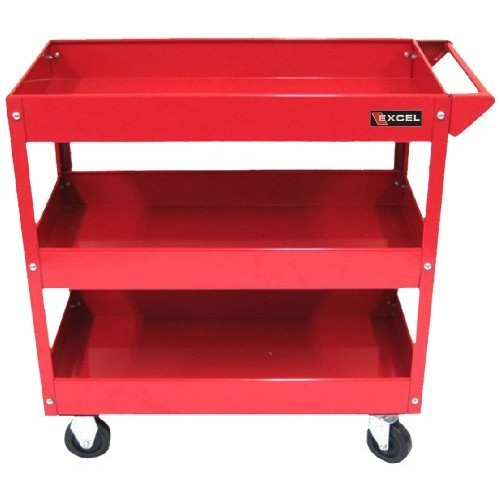 Excel TC301A-Red 3-Tray Rolling Metal Tool Cart, Red [Red]
