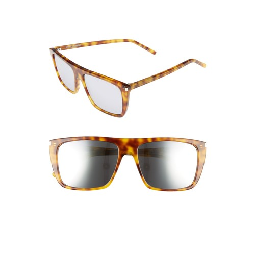 SAINT LAURENT 56Mm Mirrored Rectangular Sunglasses