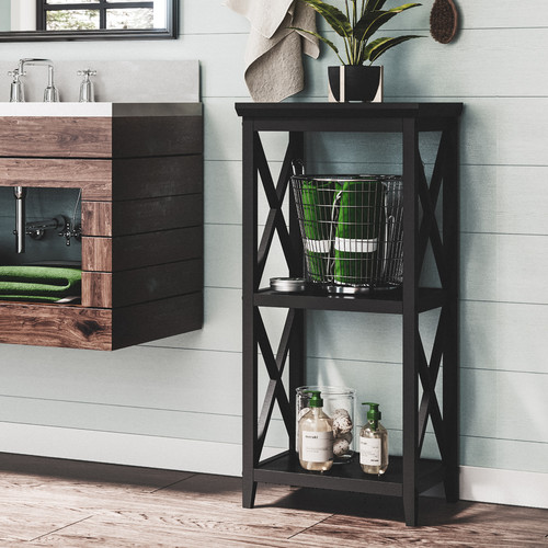RiverRidge X-Frame 3-Shelf Storage Tower, Espresso