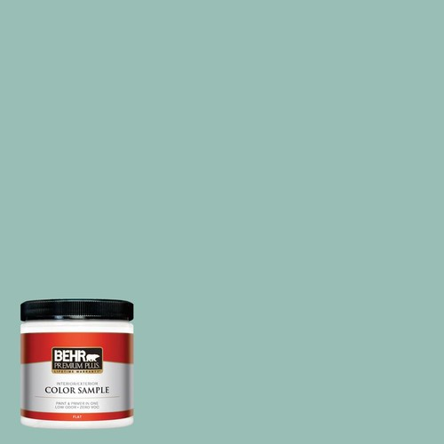 BEHR Premium Plus 8 oz. #PPU12-08 Opal Silk Flat Interior/Exterior Paint and Primer in One Sample