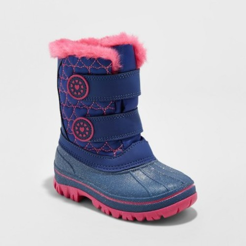 Toddler Girls' Priya Velcro Winter Boots - Cat & Jack Navy