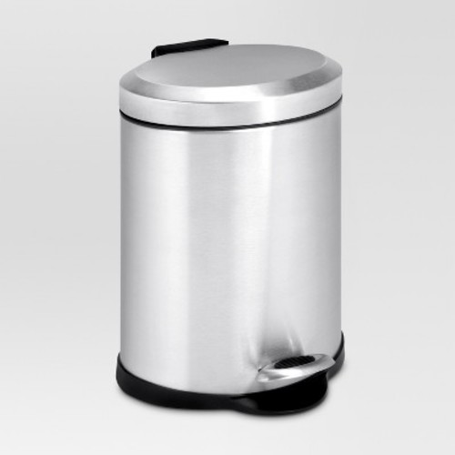 Honey-Can-Do TRS-01448 Oval Stainless Steel Step Can, 5-Liter [5-liter]