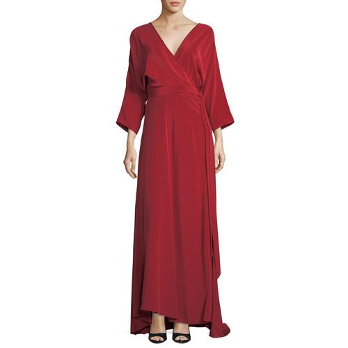 DIANE VON FURSTENBERG Long-Sleeve Floor-Length Silk Faux-Wrap Dress