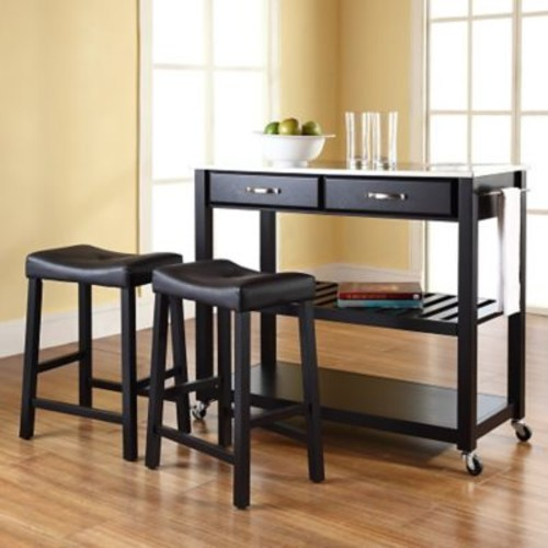 Crosley Kitchen Island Set w/ Stainless Steel Top; Black