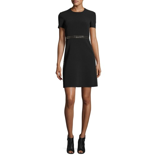 BURBERRY LONDON Studded A-Line Short-Sleeve Dress, Black