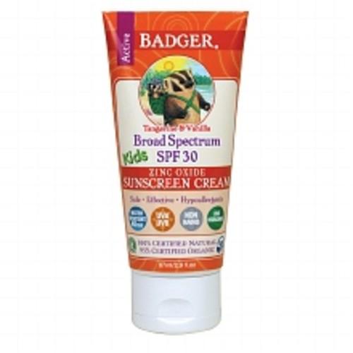 Badger Broad Spectrum SPF 30 Kids Zinc Oxide Sunscreen Cream Tangerine Vanilla