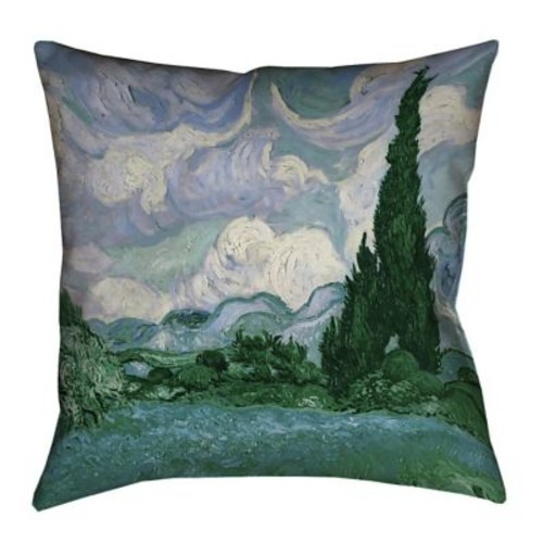 Red Barrel Studio Meredosia Wheat Field w/ Cypresses 100pct Cotton Euro Pillow; Blue/Green