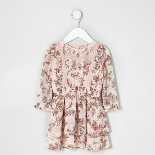 Mini girls pink floral print lace frill dress