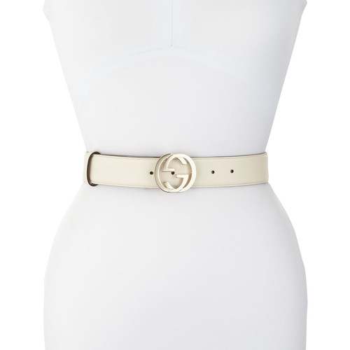 GUCCI Wide Logo-Clasp Leather Belt, White