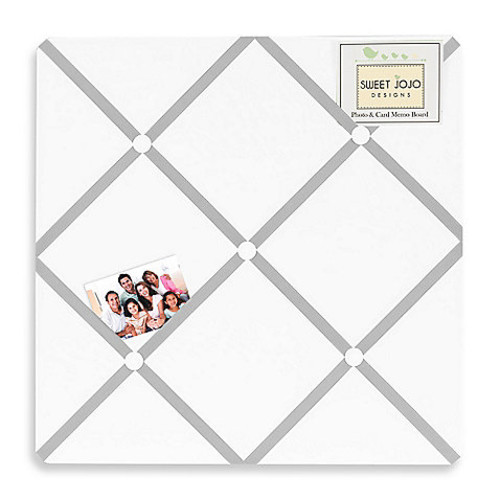 Sweet Jojo Designs Hotel Fabric Memo Board in White/Grey