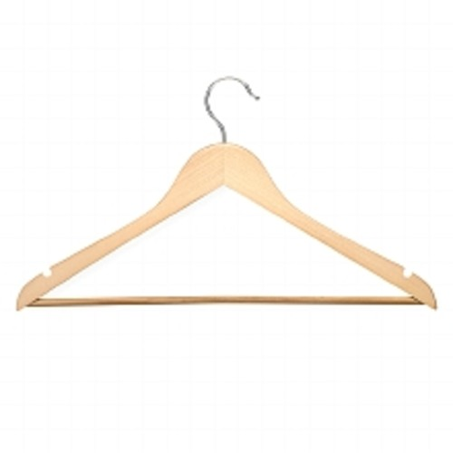 Honey Can Do Basic Suit Hanger With Non Slip Bar Maple Finish