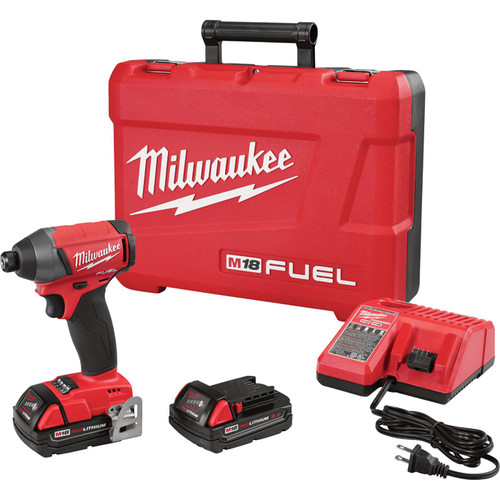 Milwaukee M18 FUEL 1/4in. Hex Impact Driver Kit  With 2 Compact Batteries, 2.0Ah, Model# 2753-22CT
