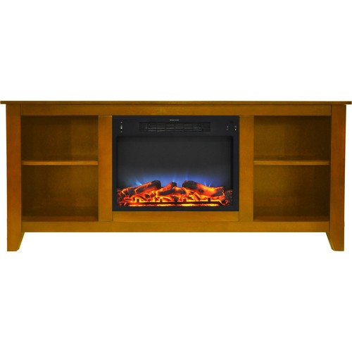 Cambridge 63 in. Entertainment Stand and Electric Fireplace with Multi-Color LED Insert, Teak