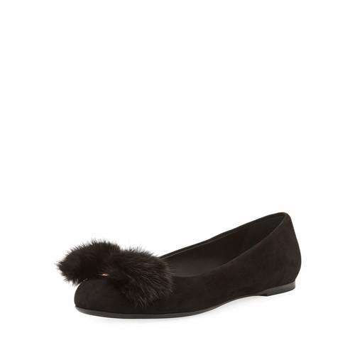 SALVATORE FERRAGAMO Fur-Bow Suede Ballerina Flat, Black