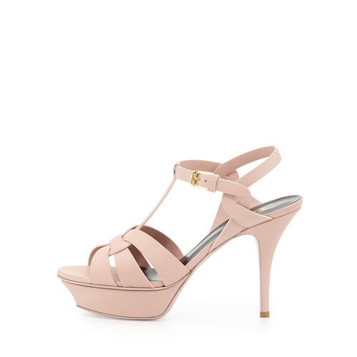 SAINT LAURENT Tribute Mid-Heel Leather Platform Sandal, Pale Blush