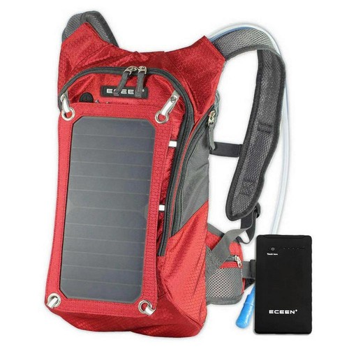 SolarGoPack Solar Hydration Backpack, 10k mAh battery, 7-Watt Solar Panel in Red