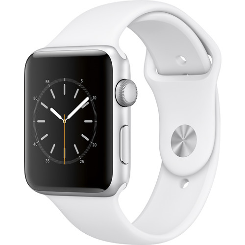 Apple - Geek Squad Certified Refurbished Apple Watch Series 2 42mm Silver Aluminum Case White Sport Band - Silver Aluminum