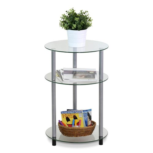 Furinno Kaca Clear Round Glass Side Table