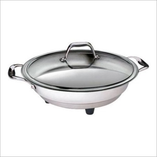 Electric Skillet with Tempered Glass Lid- Professional Grade Non-stick Cooker w Stainless Steel Body- 16