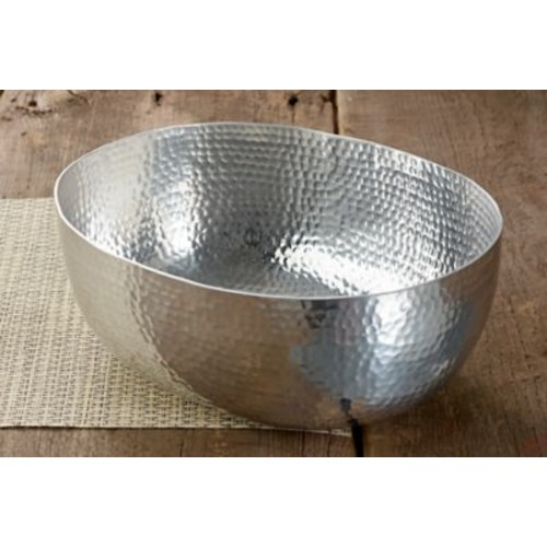 Kindwer 12'' Oval Hammered Aluminum Serving Bowl