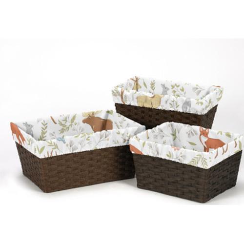 Woodland Toile 3 Piece Basket Liner Set