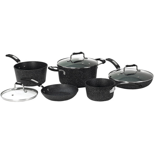 Starfrit Rock 8-Piece Aluminum Cookware Set with Bakelite Handles in Black