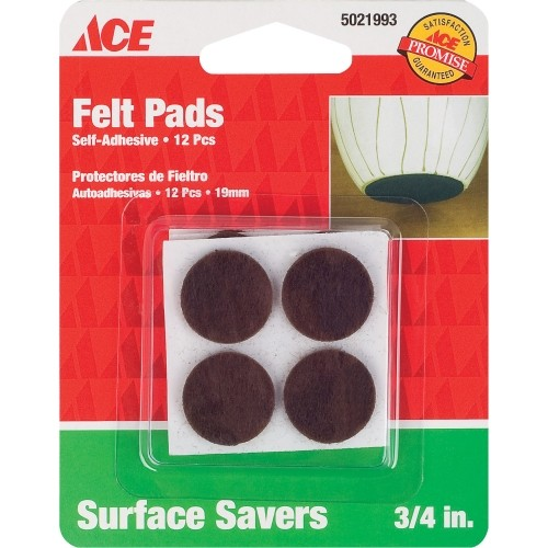 Ace Felt Round Self Adhesive Pad Brown 3/4 in. W 12 pk(9959/ACE)