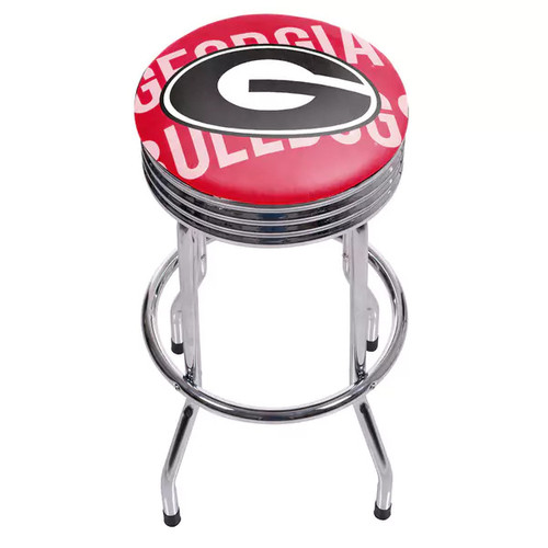 University of Georgia Chrome Ribbed Bar Stool - Wordmark